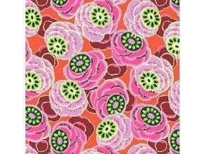 bavlnéné plátno Clouded Floral in Persimmon