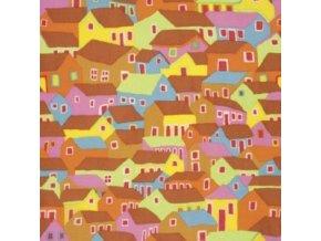 bavlněné plátno Shanty Town in Ochre