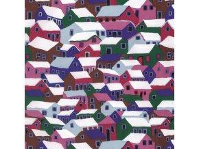 bavlněné plátno Shanty Town in Winter