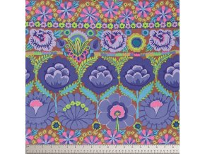 Embroidered Flower Border in Blue