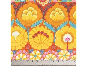 Embroidered Flower Border in Yellow