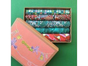 set látek dárková krabička zelená fat quarter vierma prodej látek nastříháno