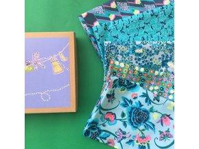 set látek Amy Butler americké designové látky modrá varianta popelíny