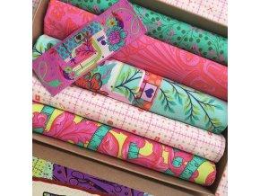 morning sada látek tula pink dárek švadlenkám set v krabičce metráž na vánoce jako dárek