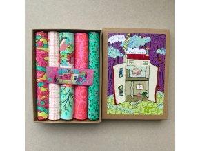 morning sada látek tula pink dárek švadlenkám set v krabičce metráž jako dárek