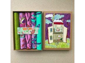 night sada látek tula pink dárková krabička metráž na vánoce motiv šití na látce