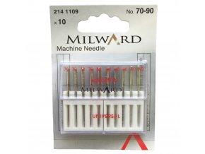 jehly do šicího stroje univerzální sada velikostí 70 80 90 strojové jehly značka Milward