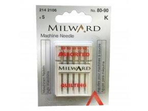 jehly do šicího stroje strojové jehly QUILTOVACÍ velikost 80 90 značka Milward