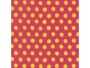 puntíkovaná metráž žluté puntíky na červené Kaffe Fassett americká designová látka prodej VierMa PWGP070.MELON