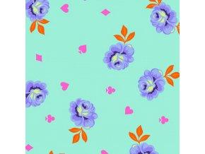 quilting back Tula Pink backing fabric látka velké šířky 274 cm na zadní stranu dek patchwork satén modrozelený růže