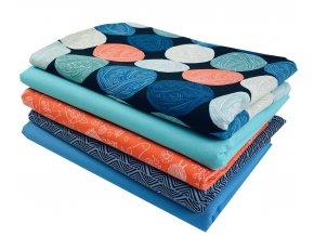 set látek se vzorem pletení knitting metráž na project bag vzor příze klubíčka
