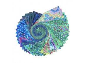 Kaffe Fassett Desing Roll set látek Free Spirit Fabric zelená varianta sada na patchwork FB4DRGP.OCEAN