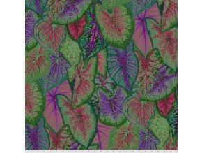 PWPJ108.DARK metráž sloní uši látka s motivem pestrobarevné listy na patchwork i běžné šití Kaffe Fassett Collective