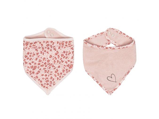 Rózsaszín Bandana nálkendő 2 db Bébé-jou Leopard Pink
