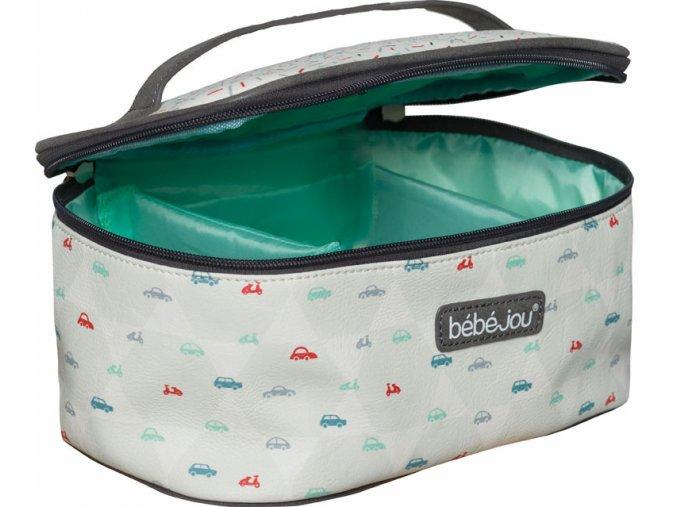 fehér mintás Beautycase kozmetikai táska zárható fedéllel Bébé-Jou Wheely