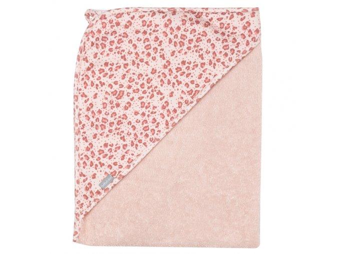 Rózsaszín Frottír törülköző kapucnival 100% pamutból Bébé-Jou Leopard Pink