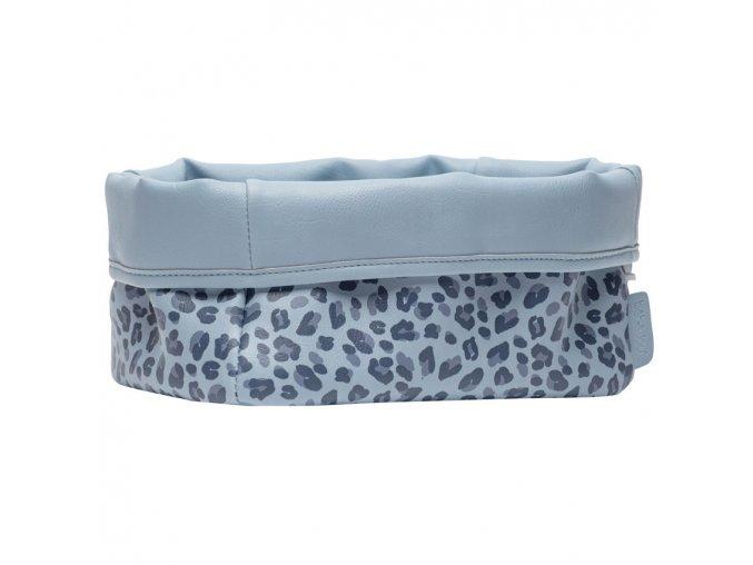 Nagyobb textil tárolókosár 27 × 19 babaápolási kellékre Bébé-Jou Leopard Blue