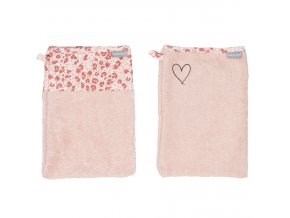 Rózsaszín Frottír fürdő törlőkendő szett Bébé-Jou Leopard Pink 2 db