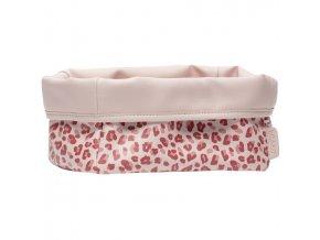 Nagyobb textil tárolókosár 27 × 19 babaápolási kellékre Bébé-Jou Leopard Pink