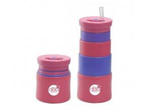 Dbb Teleszkópos rózsaszín-lila pohár szívószállal 350 ml