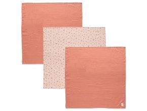 Muszlin pelenka rózsaszín 70 x 70 cm szett 3 db Fabulous Wish Pink