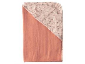 Muszlin kapucnis törülköző bambusszal Bébé-Jou Wish Pink rózsaszín