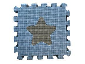 Puzzle habszivacs játszószőnyeg Geometriai formák, Blue 90x90 cm