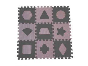 Puzzle habszivacs játszószőnyeg Geometriai formák, Rose 90x90 cm