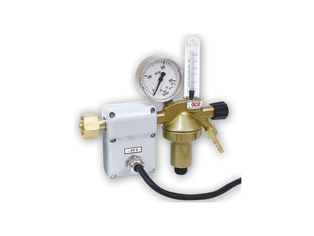 Redukční ventil GCE - CO2 DIN+ FLOW s plovákovým průtokoměrem a ohřívačem 24V  Redukční ventil CO2 DIN plus 24