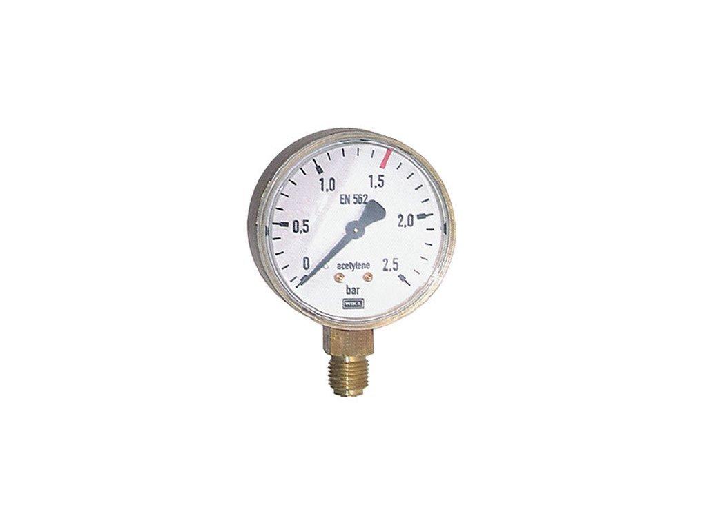 Manometr ACETYLEN pr. 63 mm - VÝSTUP  Manometr ACETYLEN výstup