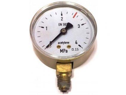 Manometr ACETYLEN pr. 63 mm - VSTUP  Manometr ACETYLEN vstup