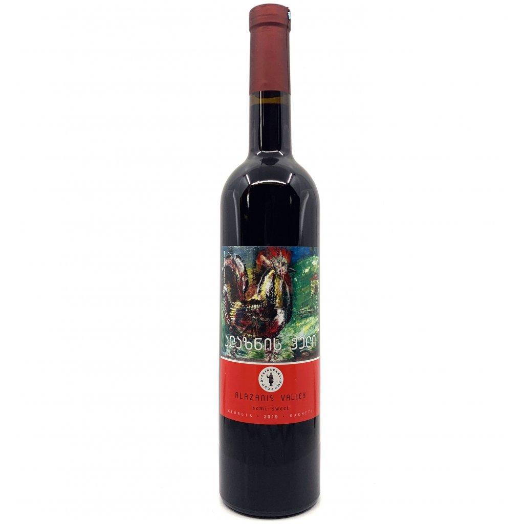 Tsinapari Алазанская долина красное полусладкое грузинское вино 2019 0,75л.