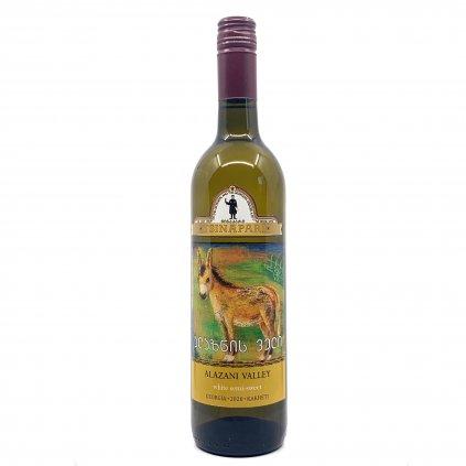 Grusignac Alazanis Valley polosladké bílé gruzínské víno 2018 0,75l