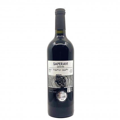 Saperavi Kvevri Shavi Jikhvi suché autentické červené víno
