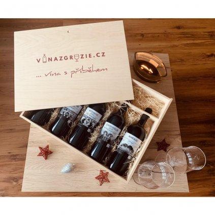Luxusní dřevěná dárková krabice na 5 lahví 0,75l (prázdná)