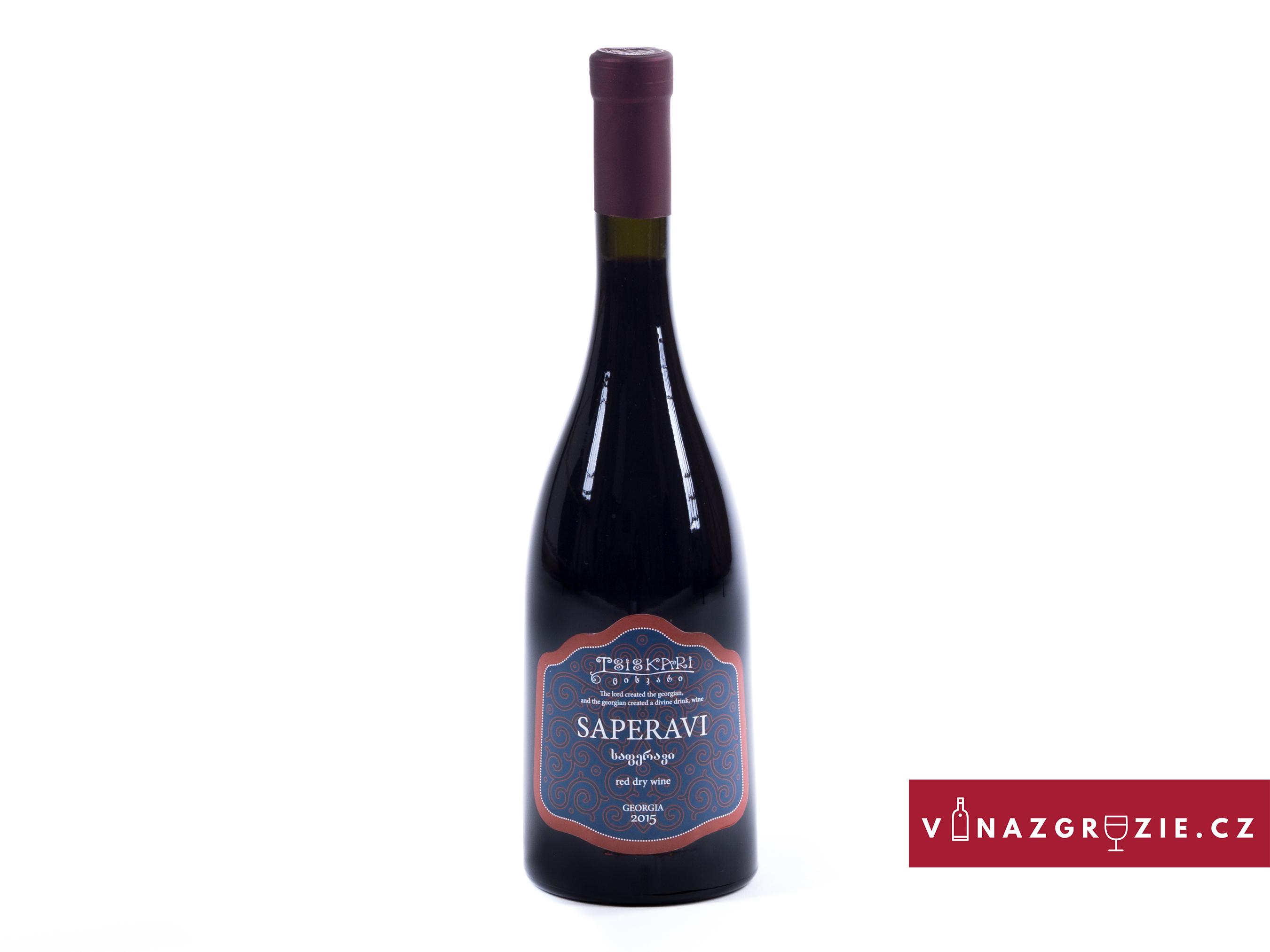 Tsiskari Saperavi suché gruzínské červené víno 2018 0,75l