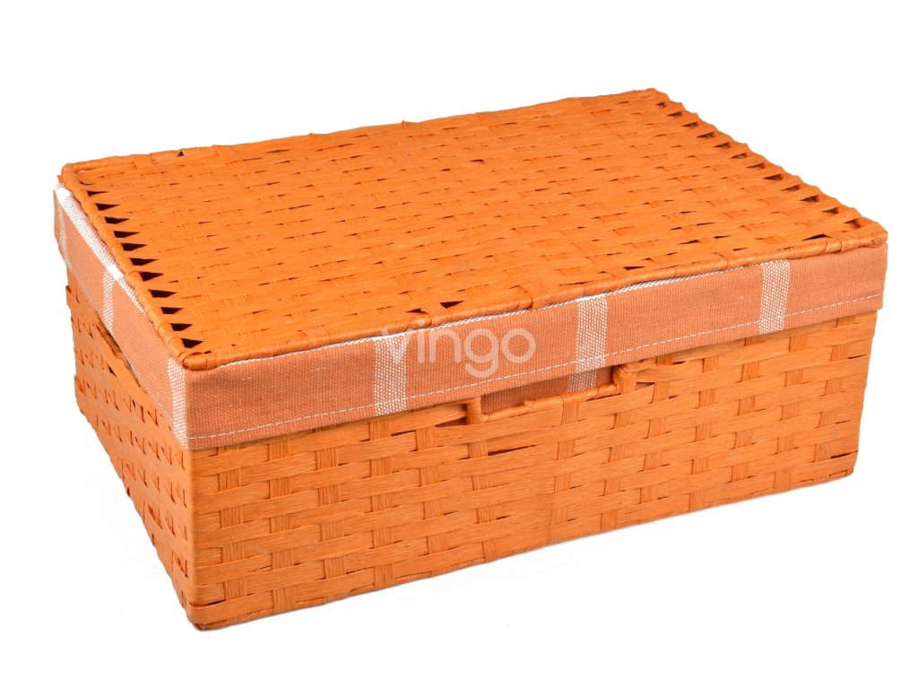 Sada 3 úložných boxů s víkem oranžových (rozměry boxu Sada  11x30x21 13x36x24 15x40x27)