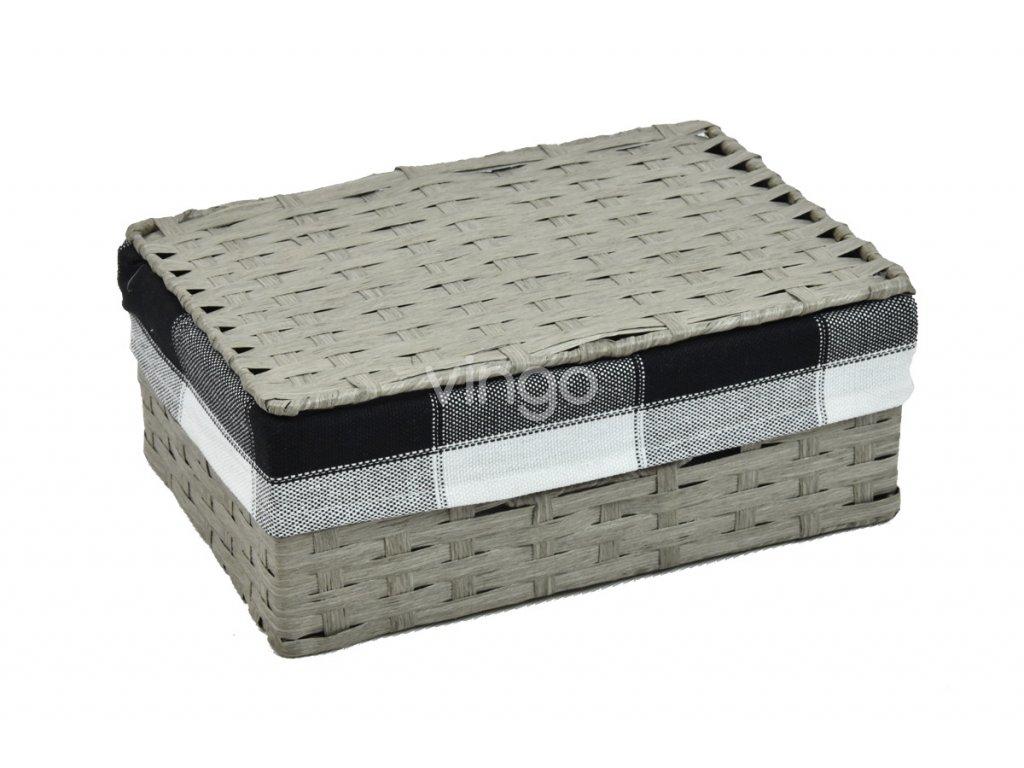 Úložný box s víkem šedý