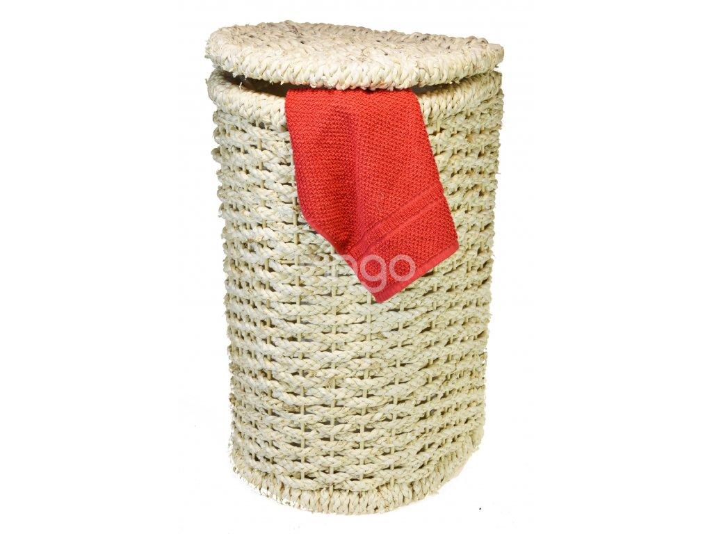 Koš na prádlo z kukuřičného šustí půlkulatý (rozměry (cm) 34x31, v. 61)