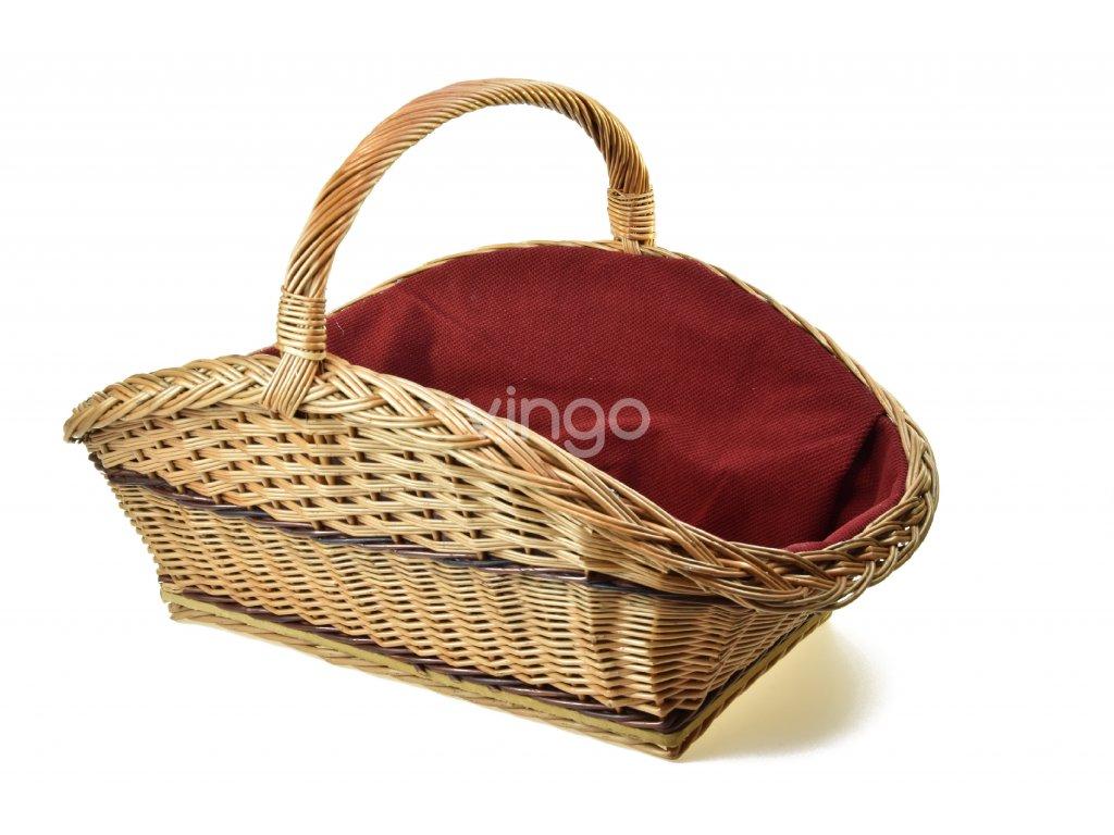 12709 prouteny kos na drevo s vinovou textilii