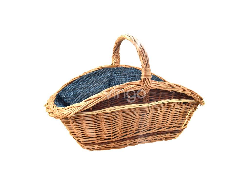 Proutěný koš na dřevo s tyrkysovou textilií