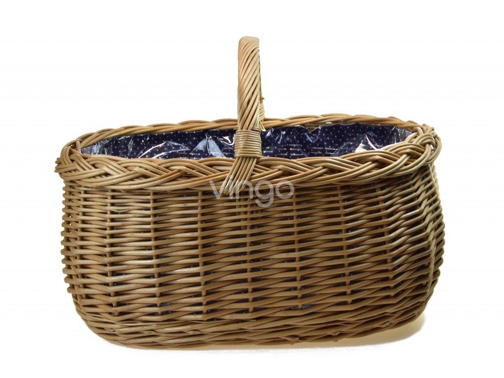 Proutěný nákupní koš s igelitovou vložkou a modrou látkou (rozměry (cm) 51x36, v. 35)