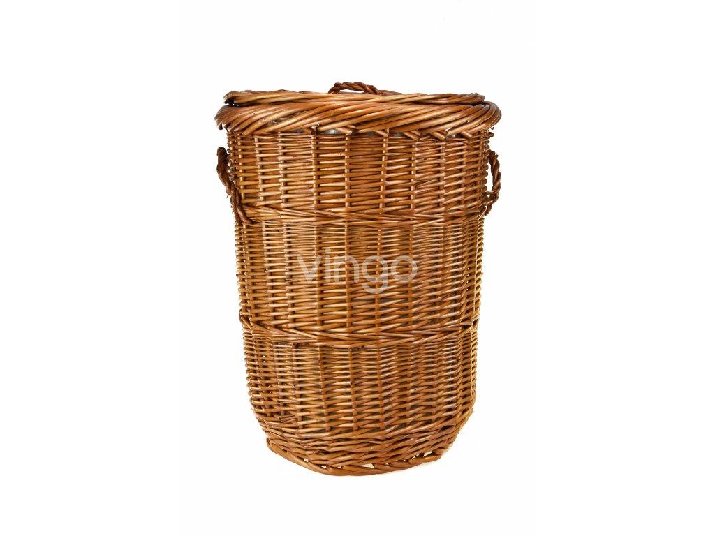 Kulatý proutěný prádelní koš s látkou (rozměry (cm) průměr 30, v. 40)