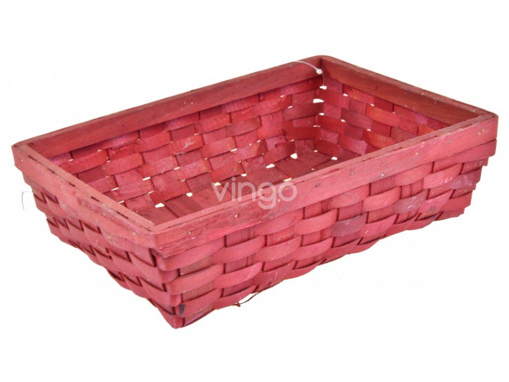 Červená obdélníková ošatka Vingo z dýhy
