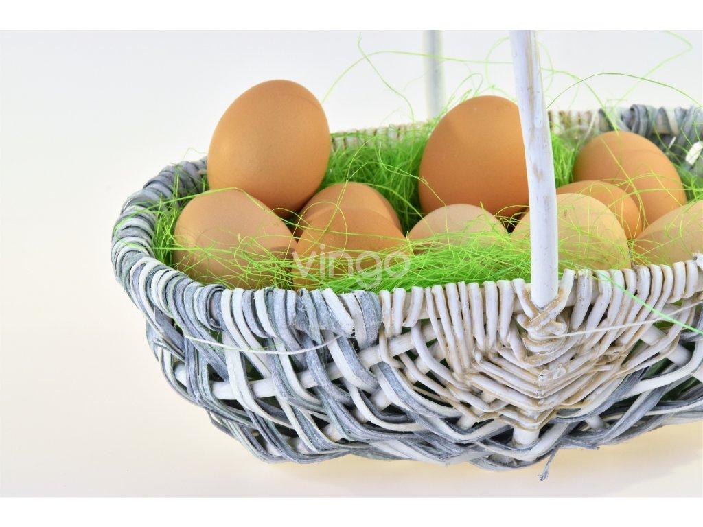 Oválný košíček Vingo vyrobený z dřevěných lupínků s jemným laděním doplněn o vnitřní igelitovou vložku a dekoraci s vajíčky