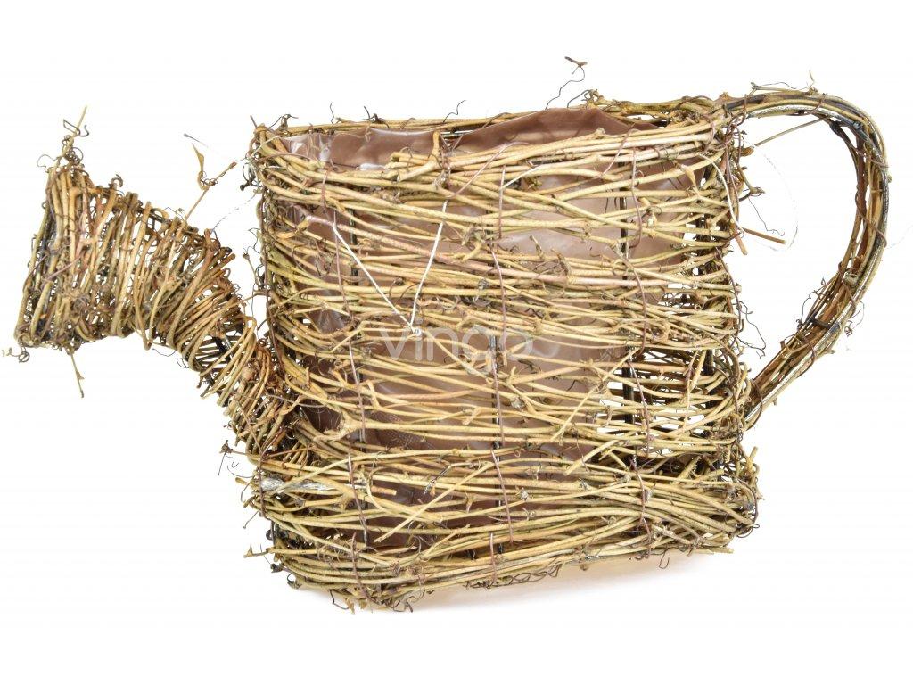 Stylový květináč Vingo ve tvaru konve z drátěné konstrukce upletený z materiálu psí víno doplněná o vnitřní igelitovou vložku