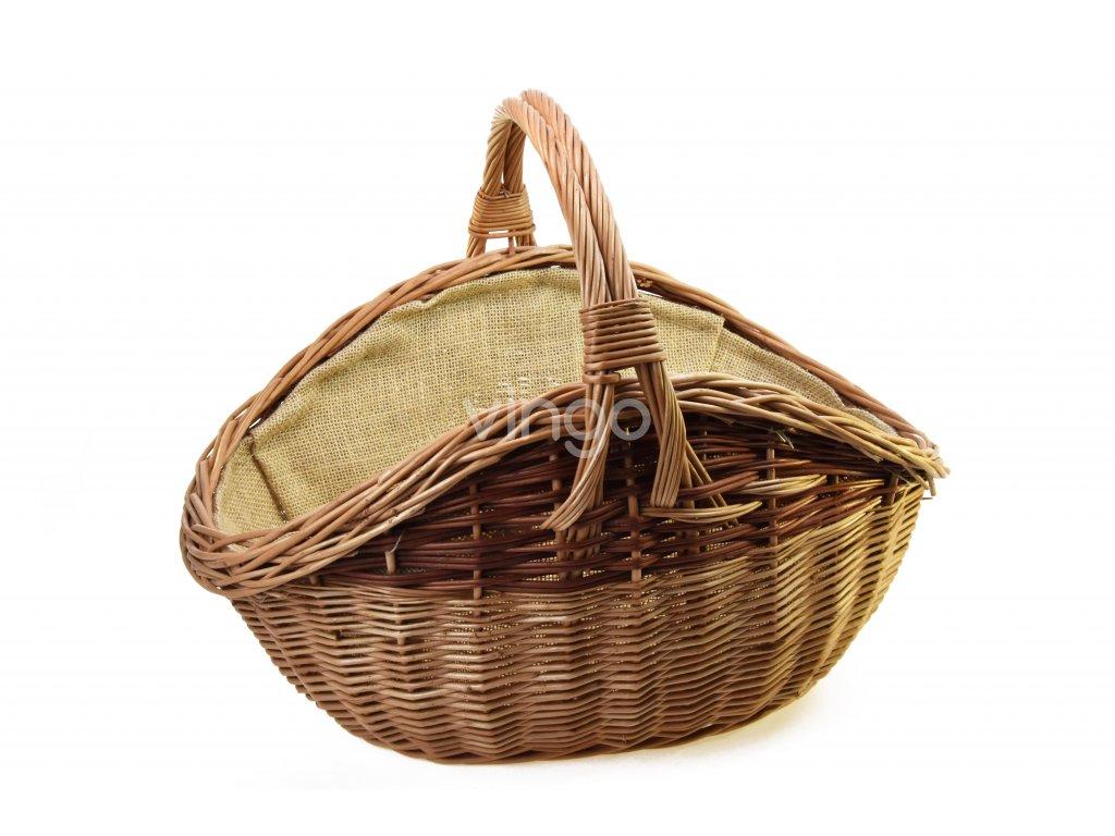 Proutěný koš na dřevo tvaru vejce s pytlovinou
