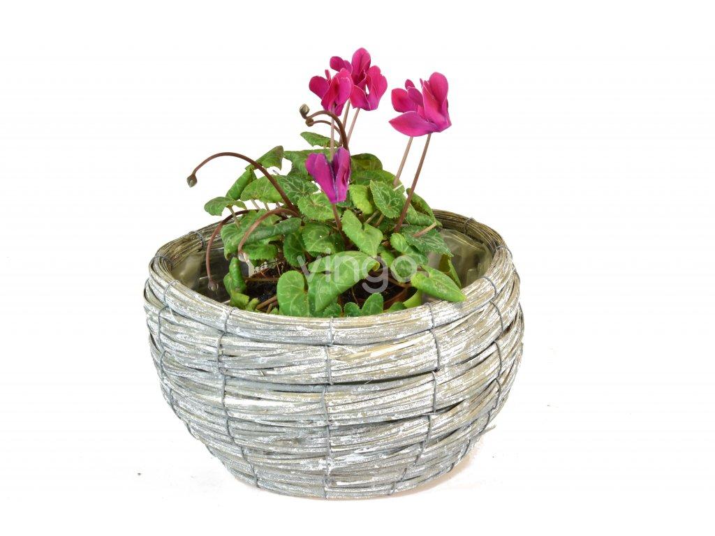 Květináč šedý kulatý (rozměry (cm) průměr 24, v. 14)