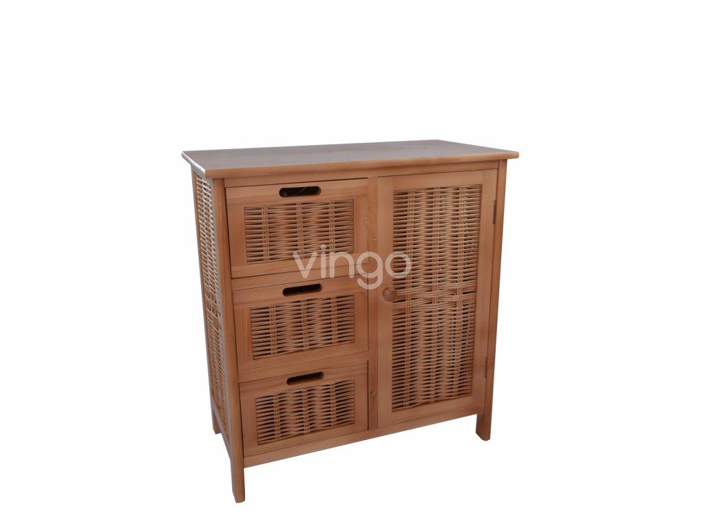 řevěná komoda Vingo se zásuvkami a skříňkou
