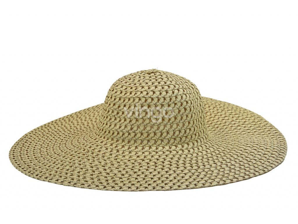 Široký dámský letní klobouk slámové barvy s hnědým prošitím - Vingo 5a54dfe9be